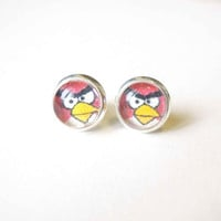 Angry Birds Stud Earrings - Glass Cabochons Post Earrings - Glass Dome Stud