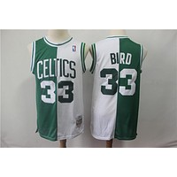 Boston Celtics 33 Larry Bird Two-color double fight Jersey