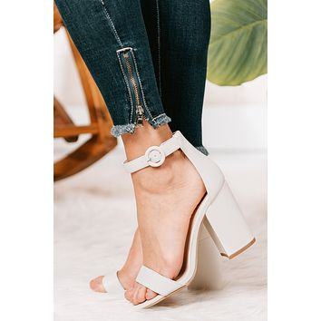Looking Up Faux Leather Block Heels (Off White)
