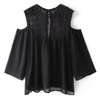 Black Cut-Out Lace Chiffon T-Shirt