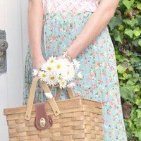 Spring Sonnet Floral Print Accordian Pleat Midi Skirt in Hazy Blue   Sincerely Sweet Boutique