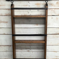 Rustic ladder shelf, rustic shelf with hooks,rustic  farmhouse shelf, cottage chic, home decor, industrial pipe shelf