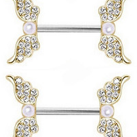 Body Accentz� Nipple Ring Angel Wings bar body Jewelry sold as Pair 14g Faux Pearl