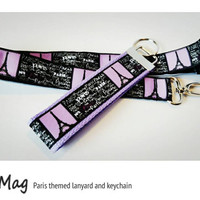 Paris Themed Lanyard and Keychain