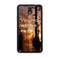 Shawnex Young Wild And Free Woods Quote Samsung Galaxy Note 3 Case - Fits Samsung Galaxy Note 3 Note III