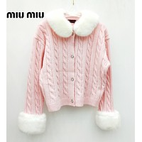 MIU MIU Autumn Winter Fashion Women Warm Knit Long Sleeve Cardigan Jacket Coat
