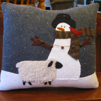 Let's decorate.....Snowman and Sheep Winter Pillow
