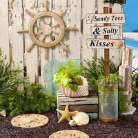 Coastal Decor Beach Tropical Steppingstone Boat Wheel Garden Stake Planter