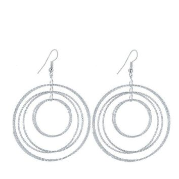 Dangling Circles Earrings in Gold or Silver