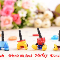 35%OFF Cute Stitch Mickey Donald Duck Winnie Leg Dust Plug 3.5mm Phone Plug iPhone 4S 5 5S 6 Dust Plug Samsung Charm Headphone Jack Ear Cap