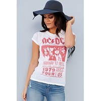 """""""Highway To Hell"""" Graphic Band Tee (White)"""