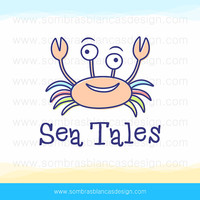OOAK Premade Logo Design - Colorful Crab - Perfect for a kids clothing shop or a handmade toys brand