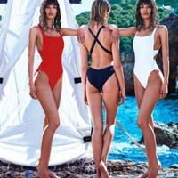 Cross Back One Piece Bathing Suit Swimsuit