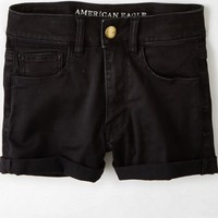 AEO Women's Sateen X Hi-rise Shortie (True Black)