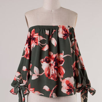 Floral Print Off the Shoulder Tie Sleeves Blouse - Hunter Green/Multi