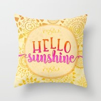 Hello Sunshine Throw Pillow by Noonday Design | Society6