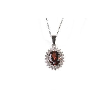 Sterling Silver Garnet and Diamond Necklace (.01ct) Oval Pendant Necklace