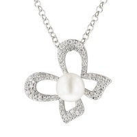 """Sterling Silver """"Bow"""" Cubic Zirconia Diamond Cut Freshwater Cultured Pearl Necklace, 16+2"""" Extender"""