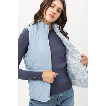 REVERSIBLE QUILTED PADDING VEST (1LV50020) NEW