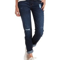 Low Rise Distressed Skinny Jeans