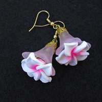 Pink N White Drop Earrings, Hand Made Flower Earrings, Pink N White Flowers, Dangle Drop Earrings, Gold Plated Lever Back Pierced Earrings