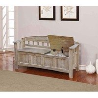 Wooden Storage Bench with Slated Armrest and Curved Backrest, Brown