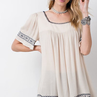 Natural Square Neck Embroidered Tunic Top