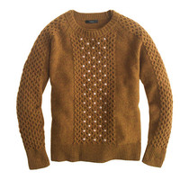 J.Crew Womens Embellished Honeycomb Cable Sweater