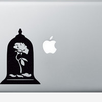 Beauty and The Beast Rose Sticker - Princess Belle Disney Laptop Decal - The Enchanted Rose Nursery Wall Decor - Belles Rose Macbook Decal