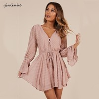 yinlinhe Sexy Transparent Playsuit Summer Bohemian Beach Overalls Pink Polka Dot Short Jumpsuit Women Rompers Long Sleeve    768