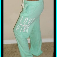 Victoria's Secret LOVE PINK Lightweight Mint Green Boyfriend Lounge/Sweatpants