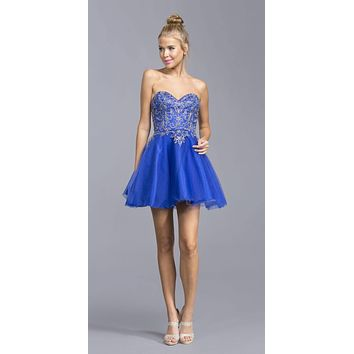 CLEARANCE - Champagne Sweetheart Neckline Strapless Homecoming Short Dress (Size 3XL)