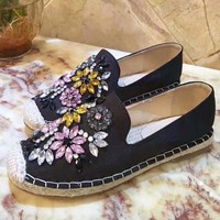 Fashion women flower diamond Casual Fashion  Sandal Slipper Shoes black H-ALXY
