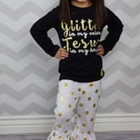 Big Sale! Girls Outfit Glitter In My Veins Jesus In My Heart Black Gold Girls Kids Clothes Holiday Toddler Girl Outfit Kids Clothes Children