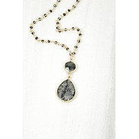 Natural Stone Double Drop Rosary Necklace