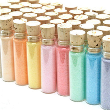 Colored Sugar Favor- Flavored Sugar, 20 Mini Bottles for Weddings, High Tea Shower, Mad Hatter Tea Party, Corporate Gifts, Stocking Stuffers