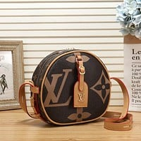 LV Louis Vuitton retro color matching printed letters round cake bag messenger bag shoulder bag