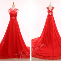 Red prom evening dresses with criss-cross wide straps chiffon fabric zipper back with bow chapel train for prom evening party