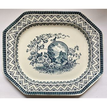 "1880 Wedgwood Teal Blue 17""  Transferware Platter Birds on a Branch /  Vase of Flowers Moonlit Castle"