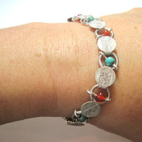 """Upcycled With Turquoise & Carnelian Vintage Sarah Coventry Bracelet Silver Tone 7.25"""" OOAK"""