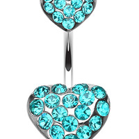 Brilliant Double Hearts Belly Button Ring