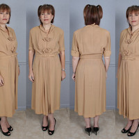 "Womens Vintage 40s Rayon Secretary Day or Dinner Dress A Kay Carter Original 32"" Waist L to XL"