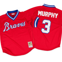 Mitchell & Ness Dale Murphy 1980 Authentic Mesh BP Jersey Atlanta Braves In Scarlet