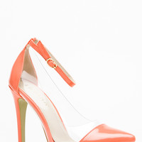 Liliana  Coral Pointed Toe Ankle Strap Vinyl Heels