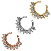 Boniskiss Fake Septum Piercing Ring Non Piercing Nose Ring Faux Septum Clicker Stainless Steel Hanger Clip On Body Jewelry