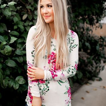 Something About Her Tunic (Oatmeal Floral)