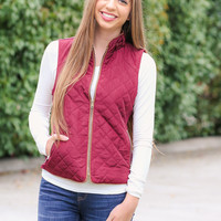 Quilted Riding Vest - Burgundy