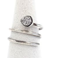 925 Sterling Silver Druzy Quartz coiled Wrapped Ring