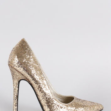 Glitter Pointy Toe Single Sole Stiletto Pump