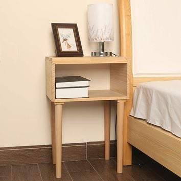 EXILOT Solid Wood Nightstand Mid-Century Modern Bedside Table Small End Table Side Table.